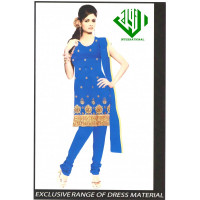 ALIF INTERNATIONAL UN-STITCHED LADIES SUIT (BLUE WITH GOLD)