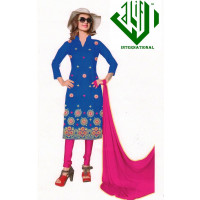 ALIF INTERNATIONAL UN-STITCHED LADIES SUIT (BLUE GOLD MIX)