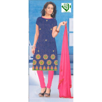 ALIF INTERNATIONAL UN-STITCHED LADIES SUIT (BLUE WITH DEEP PINK)