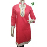 ALIF INTERNATIONAL LADIES KURTI (HOT PINK) WITH ROUND COLLAR