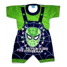 ALIF INTERNATIONAL SPIDER MAN DUNGAREE PERFECT FOR BABY BOY BABY GIRL UNDER 3 TO 18 MONTHS (GREEN)