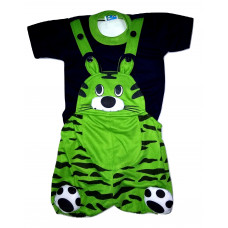 ALIF INTERNATIONAL TIGER DESIGN DUNGAREE PERFECT FOR BABY BOY BABY GIRL UNDER 3 TO 18 MONTHS (GREEN)