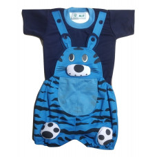 ALIF INTERNATIONAL TIGER DESIGN DUNGAREE FOR BABY BOY & BABY GIRL UNDER 03 TO 18 MONTHS (LIGHT BLUE)
